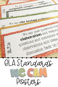 Post these student friendly ELA We Can statements on your bulletin board to display daily learning objectives in your 7th grade language arts classroom. This set includes cards in 3 sizes so you can choose what fits best in your space: full page posters for the front of the room and 1/2 or 1/4 page anchor charts for learning centers or stations. The standards are broken down so that teachers and middle school students can understand exactly what they should master in the lesson!