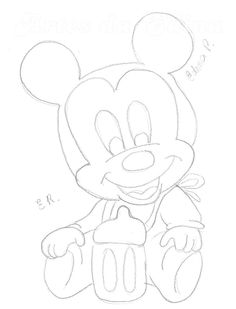 Emoji Drawings, Cool Art Drawings, Pencil Art Drawings, Amazing Drawings, Disney Drawings, Easy Drawings, Mickey Mouse, Baby Mickey, Mickey Birthday