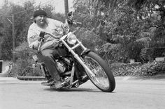 David Crosby with his Harley-Davidson.  .
