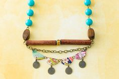 Bohemian Colorful Mismatched Vintage Tin Necklace Gypsy Style