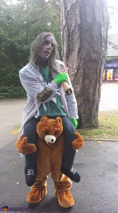 Zombie riding a Bear DIY Illusion Halloween Costume