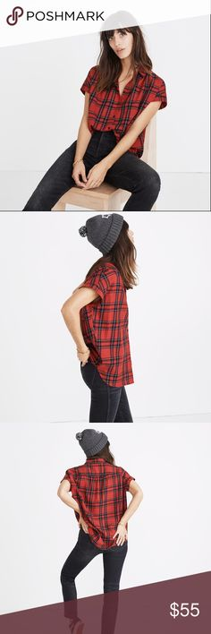 [NWT] Madewell Central Shirt in True Red Plaid Effortless and cool, shirred shirt has an easy, slightly oversized fit. A feminine take on a classic plaid button-down. True to size. Cotton. Madewell Tops Blouses