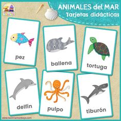 Use these cute sea animals flashcards to help little ones with reading and writing skills, or to play fun flashcard games! Toddler Home Activities, Animal Activities, Animal Games, Flashcards For Toddlers, Fauna Marina, Animal Worksheets, Underwater Animals, Free Cards, Flashcard Games