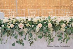 ohara rose eucalyptus table runner garland flowers peach and cream wedding devonshire arms top table yorkshire leeds Flower Runner Wedding, Wedding Top Table Flowers, Wedding Table Decorations, Garland Wedding, Floral Wedding, Table Wedding, November Wedding Flowers, Floral Garland, Flower Garlands