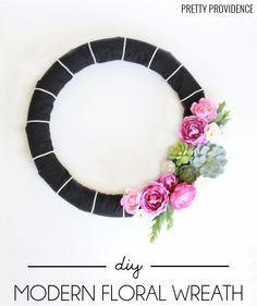 Modern Floral Wreath DIY how to from MichaelsMakers Pretty Providence