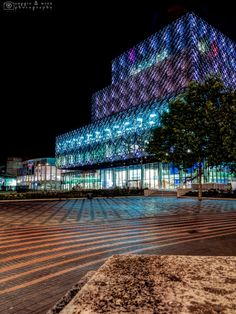 The Library of Birmingham by Night by Andrea Minoia on Birmingham Library, Birmingham Uk, Libraries, Facade, Louvre, Hiking, England, Outdoors, Spaces