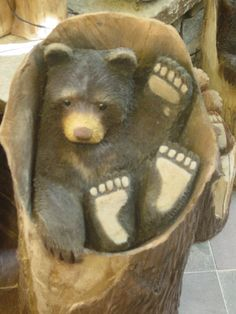 ....bear in chair stump...