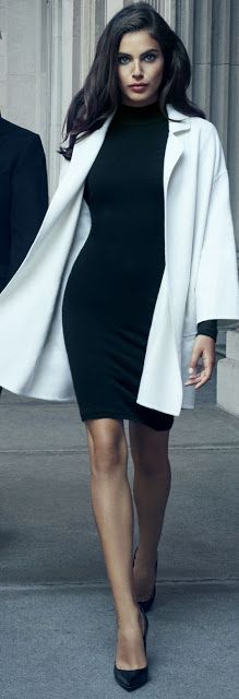 Chic look | Turtle neck flattering pencil dress with white coat
