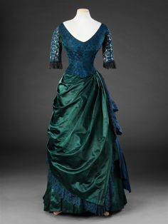 Blue and green evening dress, mid-1880s