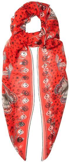 Alexander McQueen Voodoo-print silk-chiffon scarf