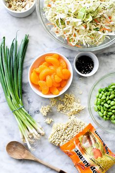 Crunchy ramen noodles and cabbage make this easy Asian ramen noodle salad with an addictive dressing an instant picnic and pot luck favorite. Orzo Salad Recipes, Ramen Recipes, Noodle Recipes, Asian Recipes, Asian Ramen Noodle Salad, Ramen Noodles, Fruit Salad Ingredients, Cabbage Salad, Food Network Recipes