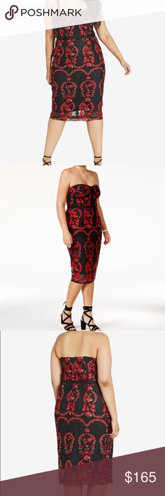 City chic embroidered bodycon Dress NWT Size 16 Red floral embroidery. Brand New with tag City Chic Dresses Midi