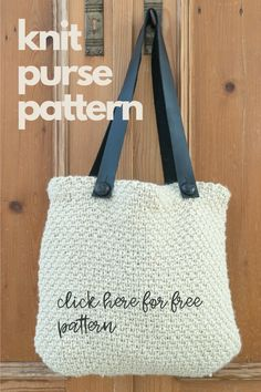 Free printable pattern and video instruction to make this knit purse. This Knit Purse uses the Half-Linen Stitch for the body of the purse. This easy to make handbag is lined and features detachable leather handles for easy washing. Crochet Patterns For Beginners, Knitting For Beginners, Knitting Patterns Free, Knitted Washcloths, Knit Dishcloth, Linen Stitch, Knit Basket, Knitting Projects, Yarn Projects