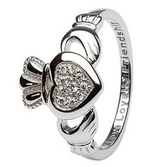 Win a Claddagh Pave Set Ladies Ring Shanore Celtic Sterling Silver Jewelry, Gold Jewelry, Diamond Jewelry, Silver Earrings, Tiffany Jewelry, Jewelry Rings, Glass Jewelry, Silver Necklaces, 925 Silver