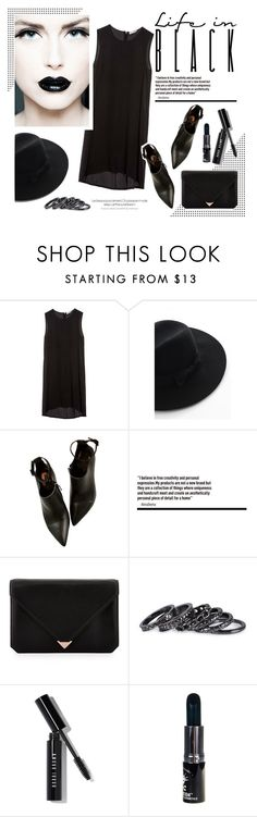"""""""Untitled #512"""" by intellectual-blackness ❤ liked on Polyvore featuring Equipment, Chicwish, Alexander Wang, Pieces, Bobbi Brown Cosmetics, Manic Panic, black and lifeinblack"""