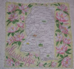 Mississippi state map + pink magnolia flowers [handkerchief / scarf]