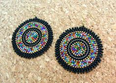 Frosted black:Circular brick stitch earringsseed bead by thiosart