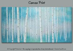 Wall art large Birch tree landscape painting by ArtFromDenise
