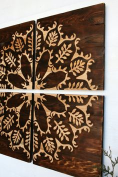 Large Wood Burned Wall Art Flower and Leaves 32 X 32 inches