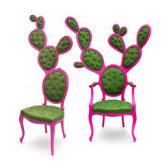 """Prickly pear chairs designed by Valentina Gonzalez Wohlers: """"The chairs juxtapose Mexican and European aesthetic values, incorporating the formal design elements and quirks of both"""