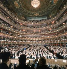 Audience at gala on the last night in the old Metropolitan Opera House before the company moved to new home at Lincoln Center