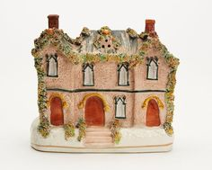 ANTIQUE STAFFORDSHIRE POTTERY COTTAGE 19TH C. Cottage Homes, Wool Blanket, Decorative Items, Gingerbread, Restoration, Pottery, Things To Sell, Antiques, Crafts