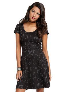 Grey & Black Music Note Dress, BLACK