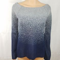 13f469a719 WHBM Sweater Blue Glitter Silver Stretch Evening Long Sleeve Bell Party Size  S  WhiteHouseBlackMarket  BoatNeck  CocktailEvening