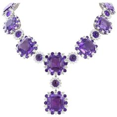 254.72 Carats Amethysts 26.33 Carats Diamonds Gold Necklace | From a unique collection of vintage more necklaces at https://www.1stdibs.com/jewelry/necklaces/more-necklaces/
