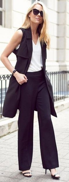 #summer #feminine #dressup | Black And White Work Outfit