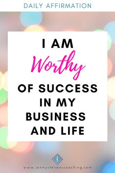 #DailyAffirmation - I AM WORTHY OF SUCCESS IN MY BUSINESS AND LIFE Positive Affirmations For Success, Daily Affirmations, I Am Worthy, Positivity, Business, Life, Business Illustration