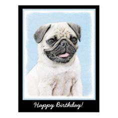 Pug Postcard - birthday cards invitations party diy personalize customize celebration