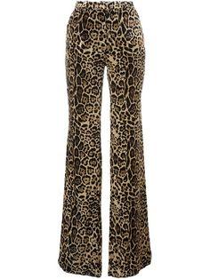 Roberto Cavalli Printed Velvet Straight Leg Pant In Light Beige Printed Palazzo Pants, Printed Trousers, Blusas Animal Print, Animal Prints, Roberto Cavalli, Dope Fashion, Fashion Looks, Sexy Outfits, Fashion Outfits