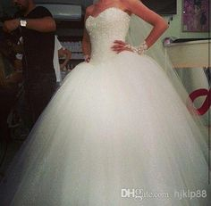 Discount Sweetheart Custom Made Tulle Big Poofy Ball Gown Wedding Dresses Fluffy 2014 Sequins Shining Vestidos De Novia Ballgown Dress Online with $133.51/Piece | DHgate