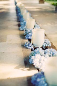 Wedding ● Aisle Decorations ● blue  hydrangeas