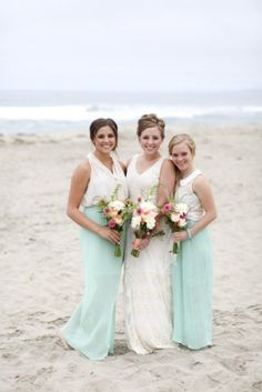 Yes! Cowl top with long teal/agua/mint skirts for bridesmaids