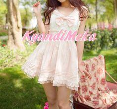Kawaii White Bow Dress