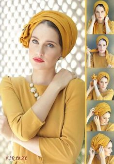 Mustard scarf made of high-quality pique material. The flexible material of the scarf lends volume, with a simple side tie. Turban Hijab, Turban Mode, Hair Accessories For Women, Clothes For Women, Mustard Scarf, Turban Tutorial, Bandana Head Wraps, Hair Scarf Styles, Head Wrap Scarf