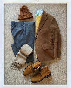 Today's Outfit. #BrooksBrothers #OwnMake Corduroy 3B Jacket #PeterBlance Shaggy Dog Sweater #GitmanVintage Oxford BD-Shirt #Highland2000 Wool Knit Cap #RalphLauren Wool Scarf #BernardZins Wool Trousers #Churchs Suede Ryder #DailyFashion #Cordinate...