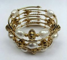 Mod:B74 brazalete cleopatra,  perla de rio y chapa de oro  de 14 incluye aretes $299.00 mayoreo descuento de 20% $239.00