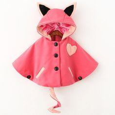 Cute Ear Shape Hooded Buttoned Woolen Cloak Coat For Girls