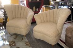 Pair Of Asymmetric Barrel Chairs By Corinthian Furniture