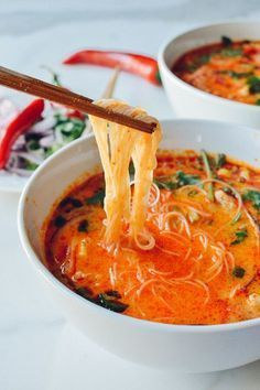 Bring flavor to the dinner table with this recipe for 15 Minute Coconut Curry Noodle Soup! Start with garlic, ginger, red curry, chicken broth, and cilantro to make this warm dish for your family. Vegetarian Recipes, Cooking Recipes, Healthy Recipes, Vegetarian Soup, Bariatric Recipes, Coconut Soup Recipes, Hotdish Recipes, Recipies, Cooking Tips