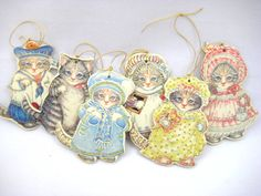 Vintage Kitty Cucumber Christmas Ornaments / Gift by CeeGeesAttic