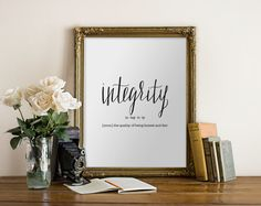 Integrity Dictionary Definition Art Print - Donation, Charity, Giving Print // Peachpod Paperie