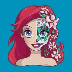 Ariel Sugar Skull Series - The Little Mermaid Princesa Ariel Da Disney, Disney Princess Ariel, Disney Princess Drawings, Mermaid Princess, Disney Girls, Disney Drawings, Punk Princess, Princess Art, Princess Belle