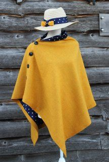 Harriet Hoot Yellow Polka Dot Harris Tweed Cape I Sewing Clothes Women, Diy Clothes, Clothes For Women, Mode Kimono, Cape Designs, Capes For Women, Harris Tweed, Dressmaking, Dress Patterns