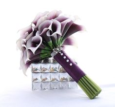 Purple Bridesmaid Bouquet Real Touch Mini Calla Lily Bouquet Calla Lilies Wedding Flowers