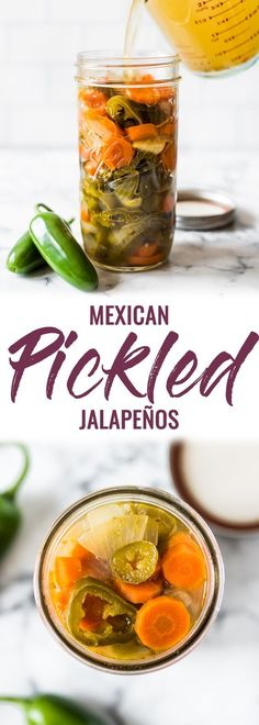 Mexican Pickled Jalapenos These Pickled Jalapenos are easy to make and are great for topping on all your favorite Mexican foods like nachos, tacos and enchiladas! Pickled Jalapeno Recipe, Jalapeno Recipes, Pickled Jalapeno Peppers, Avocado Recipes, Nachos, Pickling Jalapenos, Pickeled Jalapenos, Canned Jalapenos, Gastronomia