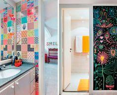 Seja com um jardim interno ou uma parede vermelha, criatividade é essencial para deixar o banheiro com uma personalidade única.
